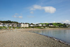 Criccieth Wales UK coast town in summer with blue sky on a beautiful day Stock Photo