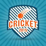 Crickert concept with winning shield and ball. 2015 cricket retro style badge or label design on blue rays background Royalty Free Stock Photo