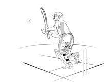 Cricket. Line illustration for the cricket batsman in ground Vector Illustration