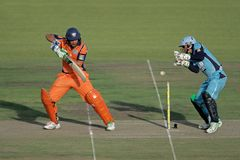 Cricket action Stock Images