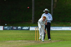 Cricket Action Sport. Bowler bowling fast ball,cricket game action with batsmen and bowlers  between Westville plays Durban Boys High 1st Teams school derby Stock Photos