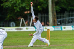 Cricket Action Sport. Bowler bowling fast ball,cricket game action with batsmen and bowlers between Westville plays Durban Boys High 1st Teams school derby stock photography