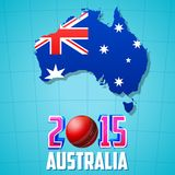 2015 Cricket with Australia map and flag Royalty Free Stock Images