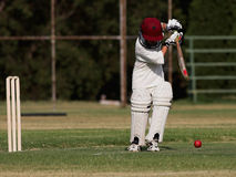Cricket Backfoot defense block Royalty Free Stock Photography