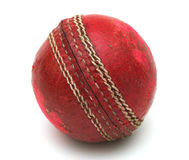 Cricket Ball. Old red cricket ball Royalty Free Stock Image
