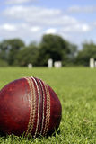 Cricket Ball. The very British game of Cricket is synonymous with British summer time, long cool drinks, and cucumber sandwiches Royalty Free Stock Images
