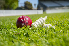 Cricket ball. And bails on the field Stock Images