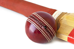 Cricket Ball and Bat over White Royalty Free Stock Photo