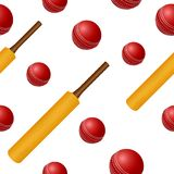 Cricket ball bat seamless backgroung Royalty Free Stock Photo