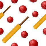Cricket ball bat seamless backgroung vector illustration