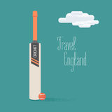Cricket ball and bat vector illustration with travel to England quote. Concept image for exploring England and United Kingdom Stock Image