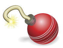 Cricket ball bomb concept. Retro cartoon cricket ball cherry bomb with lit fuse burning down. Concept for countdown to big cricketing event or crisis stock illustration