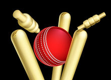 Cricket Ball Breaking Wicket Stumps Stock Images