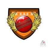 Cricket ball in center of golden wreath on the shield. Sport logo for any team or championship isolated on white vector illustration