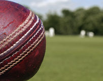 Cricket Ball Close Up. Close up of a used cricket ball on close cut grass Royalty Free Stock Photo