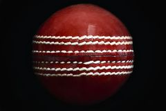 Cricket Ball. Close up of a leather cricket ball showing the seam royalty free stock images