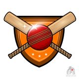 Cricket ball with cros bat in center of shield isolated on white. Sport logo for any team or championship royalty free illustration