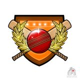 Cricket ball with crossed clubs in center of golden wreath on the shield. Sport logo for any team or championship on white. Cricket ball with crossed clubs in stock illustration
