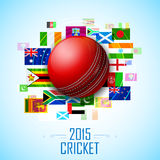 Cricket ball with different participating countries flag Stock Photos