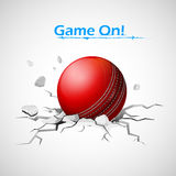 Cricket ball falling on ground making crack Royalty Free Stock Images
