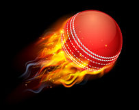 Cricket Ball on Fire. A flaming cricket ball on fire flying through the air Stock Images