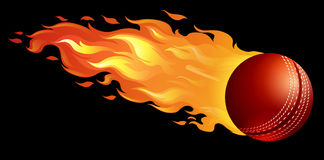 Cricket ball on fire Royalty Free Stock Image