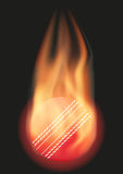 Cricket ball with flame. Burning Cricket ball with a tail of flame. Vector illustration  on background Royalty Free Stock Images