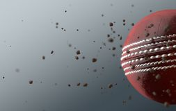 Cricket Ball In Flight. A dirty red leather cricket ball caught in slow motion flying through the air scattering dirt particles in its wake - 3D render stock illustration