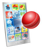 Cricket ball flying out of cell phone Royalty Free Stock Images