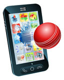 Cricket ball flying out of mobile phone Royalty Free Stock Images