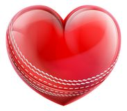 Cricket Ball In A Heart Shape Stock Photo