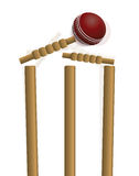 Cricket Ball Hitting the Wicket Illustration Stock Photos