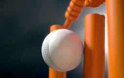 Cricket Ball Hitting Wickets Royalty Free Stock Photos