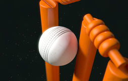 Cricket Ball Hitting Wickets Stock Photo