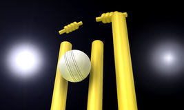 Cricket Ball Hitting Wickets At Night Stock Photography