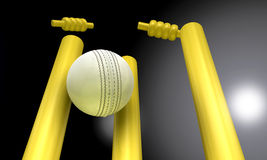 Cricket Ball Hitting Wickets At Night Stock Image
