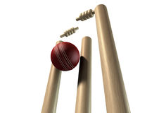 Cricket Ball Hitting Wickets Perspective Isolated Stock Image