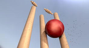 Cricket Ball Hitting Wickets Royalty Free Stock Images