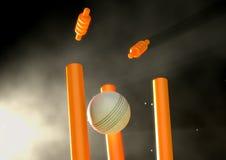 Cricket Ball Hitting Wickets Stock Photos