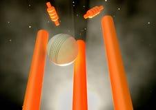 Cricket Ball Hitting Wickets Royalty Free Stock Photography