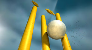 Cricket Ball Hitting Wickets Stock Photos