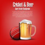 Cricket ball with mug of beer. Pattern for banner, poster, greeting card, party invitation, signboard, menu pub. Vector illustration vector illustration