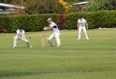 Cricket. Ball passing batsman. Royalty Free Stock Photography