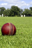 Cricket Ball & Players. The quintessentially British game of Cricket is synonymous with British summer time, long cool drinks, and cucumber sandwiches. Here Stock Image