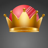 Cricket ball with royal crown Royalty Free Stock Image