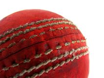 Cricket ball seam. Closeup of a red cricket ball showing the seam Royalty Free Stock Photo