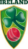 Cricket ball shamrock shield Ireland Stock Photos