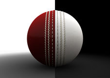 Cricket Ball Split Between Formats. A traditional cricket ball with each hemispheres color representing the two different formats of the game royalty free illustration