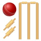 Cricket ball and stump illustration royalty free illustration