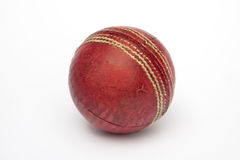 cricket ball. A used cricket ball  on white Royalty Free Stock Photos